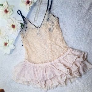 FP Free People Pink Ballet Lace Ruffled Top Sz: S
